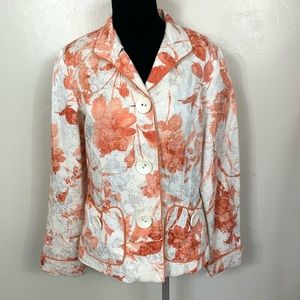 NWT COLDWATER CREEK ORANGE WHITE BLAZER SIZE 8